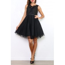 Cocktail dress of tulle with wide straps R9083